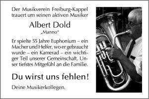 Todesanzeige Albert Dold