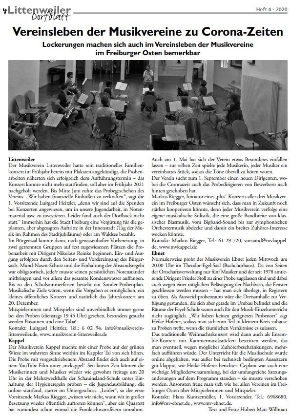 Vereinsleben der Musikvereine zu Corona-Zeiten