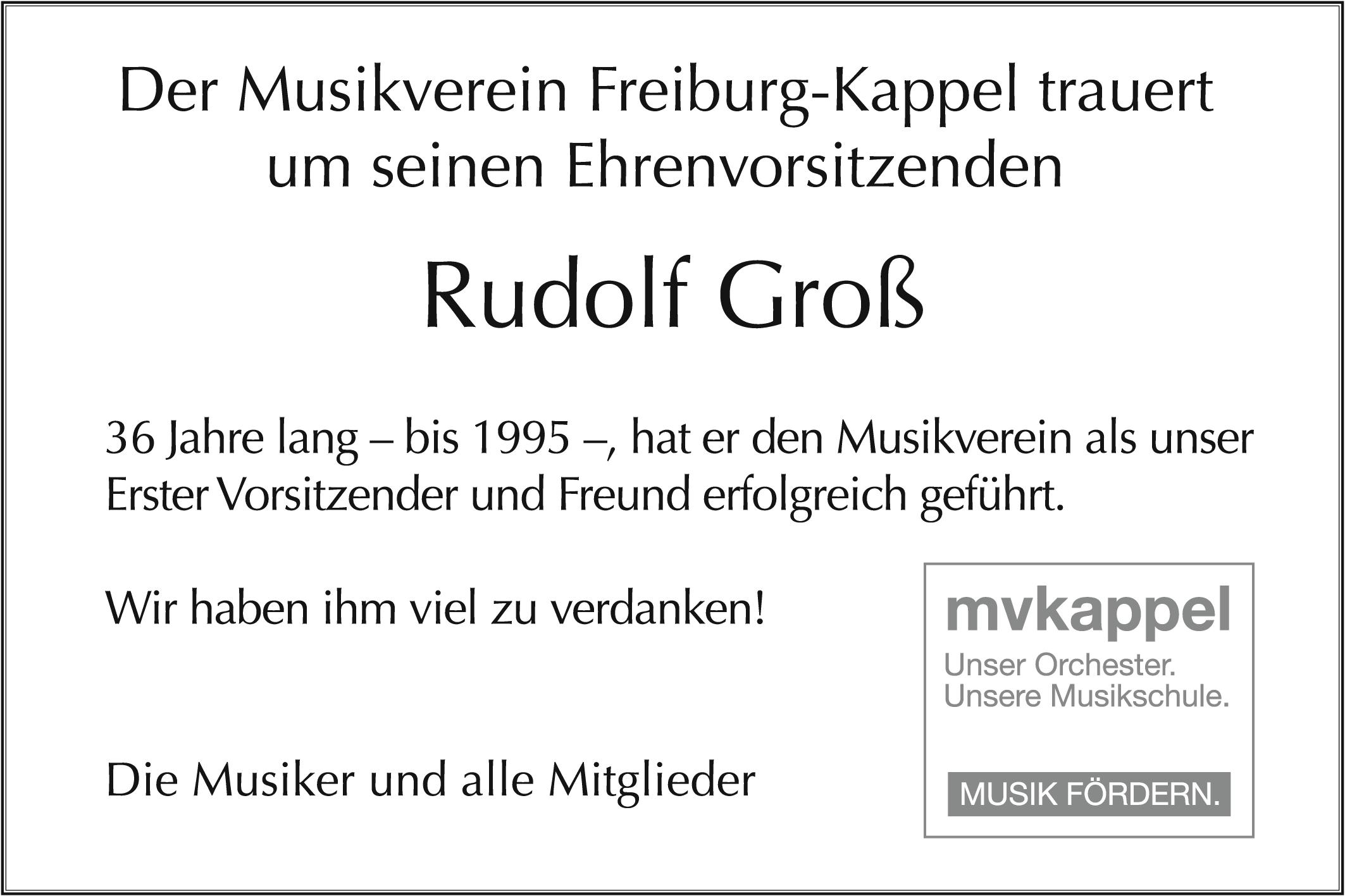 Todesanzeige Rudolf Groß
